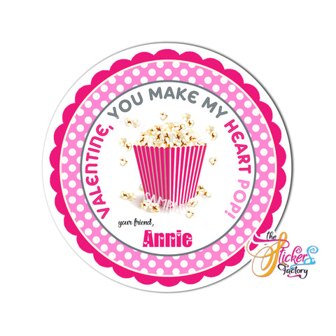 "Valentine's day Custom Printable Tags- 2.5"" Tags-Happy Valentine's Day- Pop corn theme- Personalized 2.5 inches Tags- Stickers DIY Favor Tags- Pop Valentine's tag"