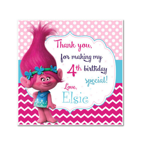 "Custom Poppy Trolls Birthday Thank you Printable 2.5"" Square Tags-Personalized Trolls Birthday party thank you 2.5 inches Tags-Stickers DIY Birthday Favor Tags"