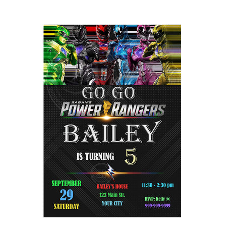 Power Rangers Custom Party Printable Invitation With Free Thank You