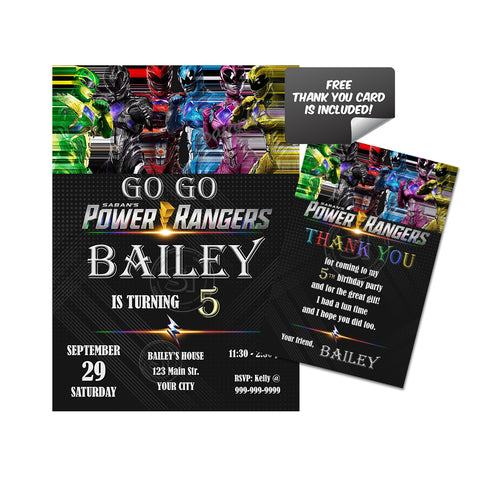 Power Rangers Custom Party Printable Invitation With FREE Thank You Card DIY Digital File