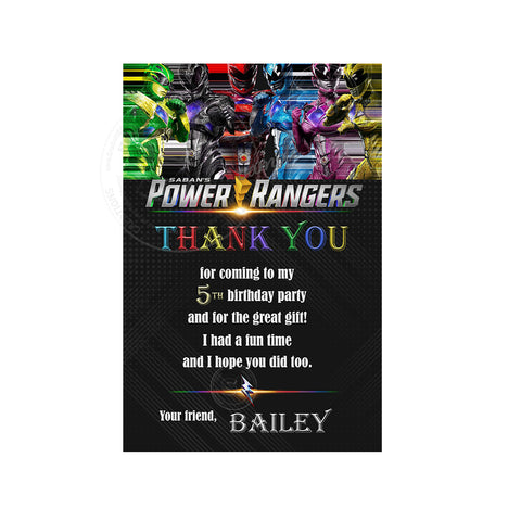 Power Rangers Custom Party Printable Invitation With Free Thank You Card Diy Digital File Superheroes Birthday Invitation You Print