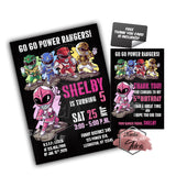 Power Rangers Custom Party Printable Invitation with FREE Thank you Card -DIY Digital File-Power Rangers Boy or Girl Birthday Invitation -You Print
