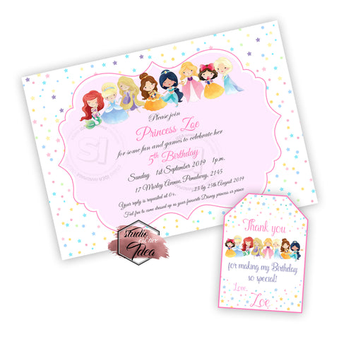Princess Party Printable Invitation with FREE Thank you Tag-DIY Digital File-Disney Princesses -Toddlers- Birthday Invitation -You Print