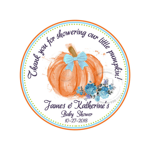"Little Pumpkin Thank you tag-Custom Printable Baby Shower Tags-2.5"" Tags-Personalized 2.5 inches -Baby Shower or Birthday Thank you Tags- Stickers DIY Favor Tags"