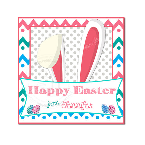 Easter Custom Printable 2.5'' Tags-Personalized Happy Easter-Easter Bunny Ears- 2.5 inches Tags- Party Favor DIY Stickers - Tags -Digital file