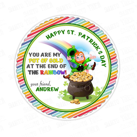 Happy St. Patrick's Day Printable Tag-St Patrick's Day-D.I.Y Tags-You Print-St. Patrick's Personalized Tag-Sticker-size 2.5""