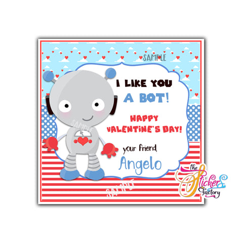 "Valentine's day Custom Printable Tags- 2.5"" Tags-Happy Valentine's Day Personalized 2.5 inches Tags- Stickers DIY Favor Tags-cute Robot Valentines tags"