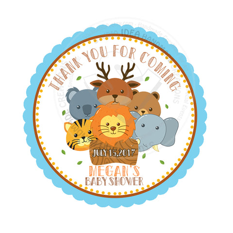 "Custom Safari animals Thank you Printable 2.5"" Tags-Personalized Zoo Animals thank you 2.5 inches Tags- Stickers DIY Favor Tags"