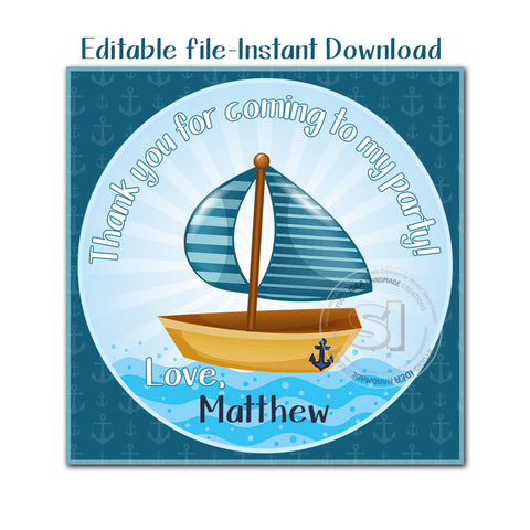 EDITABLE - INSTANT DOWNLOAD-Printable Personalized Nautical Theme -Sailboat Thank you Tag-2.5 in Square tag- Stickers- Printable Favor Tag