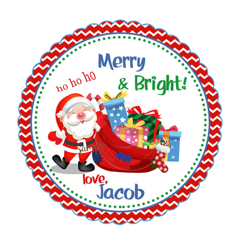 "Custom Christmas Printable 2.5'' Tags- Santa Claus Christmas Wishes Personalized Tags-DIY (You Print) 2.5"" tags-Digital File"