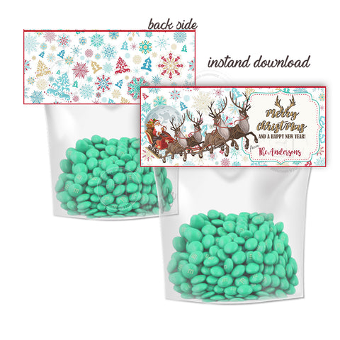 Merry Christmas-Happy New Year Customized Printable Bag Toppers-Personalized Holidays Candies bag topper-Party Favor DIY Tags-2 sided sweets bag topper