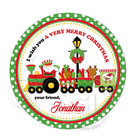 "Christmas Wishes Personalized Printable 2.5"" Tag-Christmas Train -Santa Claus  2.5 inches Circle Tags DIY Favor Tags-Stickers"
