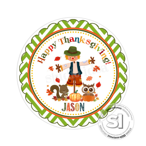Thanksgiving Custom Printable 2.5'' Tags-Personalized Scarecrow Happy Thanksgiving- 2.5 inches Tags- Party Favor DIY Stickers - Tags -Digital file