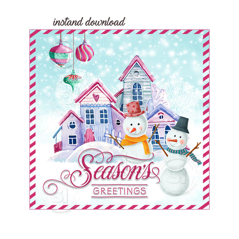 "INSTANT DOWNLOAD- Season's Greetings Printable 2.5"" Tag-Merry Christmas  2.5 inches Square Tags DIY Favor Tags-Stickers"