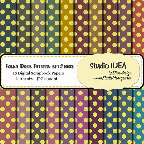 Gold Large Polka Dots Pattern Design-Set #1003-Digital Scrapbooking Paper- Letter Size- 300dpi- High Resolution Digital Design Paper- INSTANT DOWNLOAD