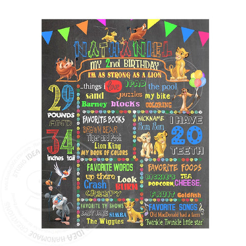 "Simba Printable Stats Sign - Lion King Personalized Stats Poster 16""x 20"" or  20"" x 24""- Printable Simba Birthday Statistics Sign- DIY Digital File"