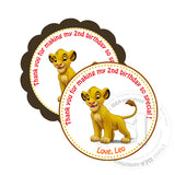 "Custom Simba Thank you Printable 2.5"" Tags-Personalized Lion King thank you 2.5 inches Tags-DIY Favor Tags- Stickers"