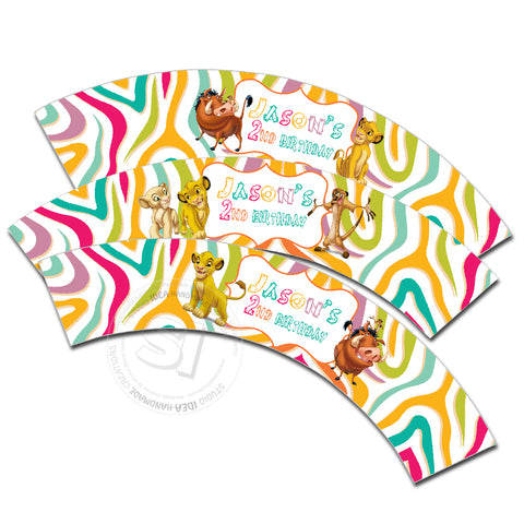 Simba Customized Printable Cupcake Wrappers - Personalized Lion King Liners- YOU PRINT - Digital File