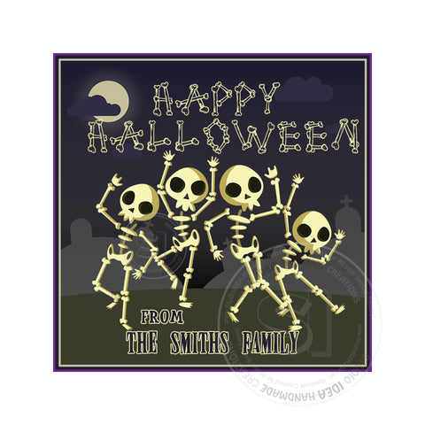 Happy Halloween Custom Printable 2.5'' Tags-Personalized Skeletons Family Halloween- 2.5 inches Square Tags- Party Favor DIY Stickers - Tags -Digital file