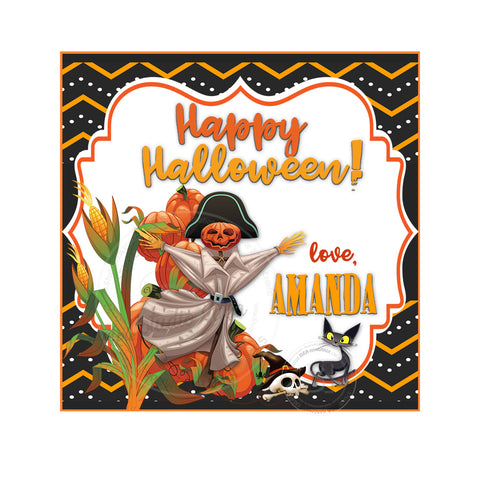 Happy Halloween Custom Printable 2.5'' Tags-Personalized Scarecrow with pumpkins Halloween- 2.5 inches Square Tags- Party Favor DIY Stickers - Tags -Digital file