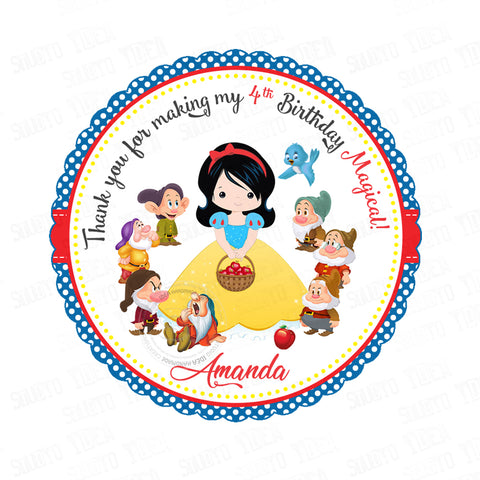 "Snow White Custom Party Printable 2.5"" Tags-Personalized Princess Scallop Personalized Thank you Tags- DIY Stickers, Favor Tags-Digital File"