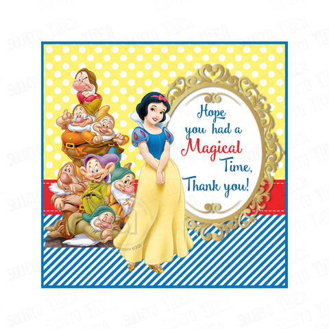 "Snow White and the 7 Dwarfs Custom Party Printable 2.5"" Tags-Personalized Princess Square Personalized Thank you Tags- DIY Stickers, Favor Tags-Digital File"