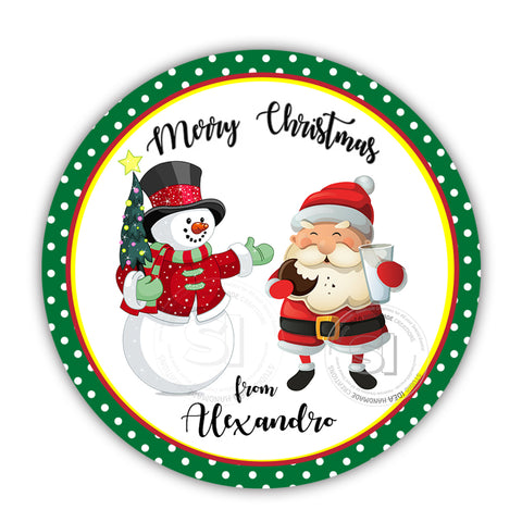 "Custom Christmas Printable 2.5'' Tags- Santa Claus with Snowman Christmas Wishes Personalized Tags-DIY (You Print) 2.5"" tags-Digital File"
