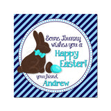 Easter Chocolate Bunny with eggs- Boy or Girl-Custom Printable 2.5'' Tags-Personalized Happy Easter 2.5 inches Tags- Party Favor DIY Stickers - Tags -Digital file