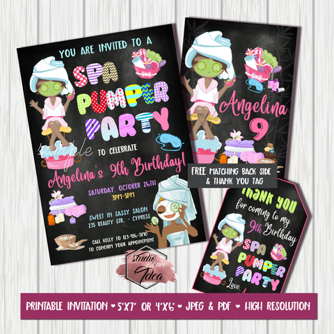 Spa Beauty Pumper Birthday Party Printable Invitation with FREE Thank you Tag and Backside printable -DIY Digital File- Spa Pumper Chalkboard Style Birthday Invitation -You Print