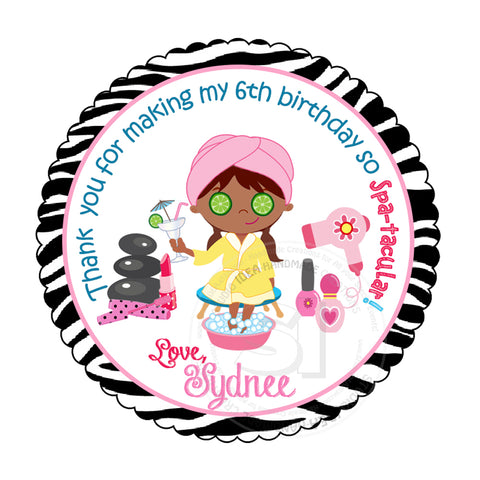 "Custom Spa-Beauty Party-African American Girl Spa Printable 2.5"" Tags-Personalized Beauty Theme Birthday 2.5 inches Tags- Stickers, DIY Spa Party Favor Tags"