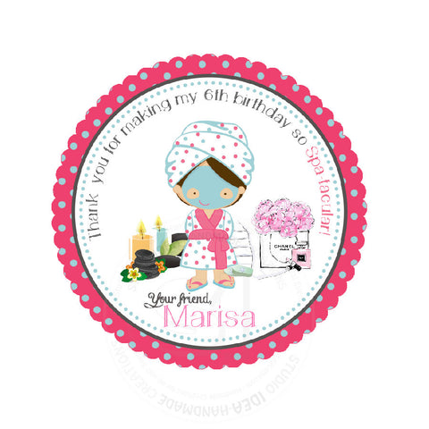 "Custom Spa-Beauty Party Printable 2.5"" Tags-Personalized Beauty Theme Birthday 2.5 inches Tags- Stickers, DIY Spa Party Favor Tags"