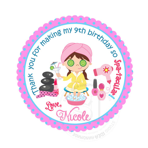 Custom Spa Beauty Party Printable 25 Tags Personalized Theme Birthday Inches