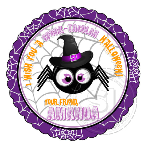 Halloween Spider Custom Printable 2.5'' Tags-Personalized Happy Halloween 2.5 inches Tags- Party Favor DIY Stickers - Tags -Digital file