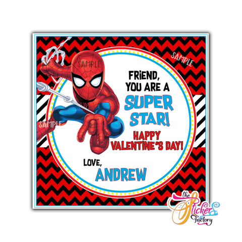 "Valentine's day Custom Printable Tags- 2.5"" Tags-Happy Valentine's Day Spiderman Personalized 2.5 inches Tags- Stickers DIY Favor Tags-Superhero Valentines tags"