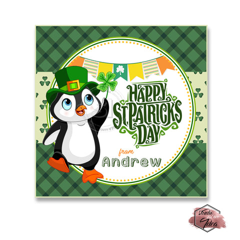 Happy St. Patrick's Day Printable Tag-cute Penguin St Patrick's Day-D.I.Y Tags-You Print-St. Patrick's Personalized Tag-Sticker-size 2.5""