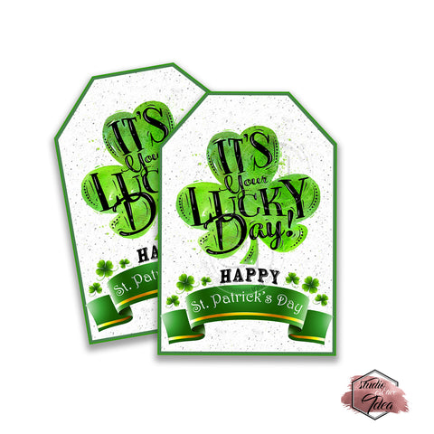 INSTANT DOWNLOAD-Happy St Patrick's Day Printable rectangle Tags-PDF file -Lucky You Rectangle Tags- Stickers DIY Favor Tags