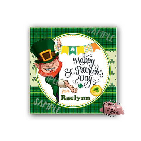 Happy St. Patrick's Day Printable Tag-Happy St Patrick's Day-D.I.Y Tags-You Print-St. Patrick's Personalized Tag-Sticker-size 2.5""