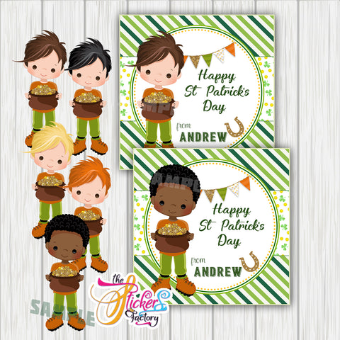 "Custom St Patrick's Day Printable 2.5'' Tags- Boy St Patrick's Wishes Personalized Tags-DIY (You Print) 2.5"" tags-Digital File"