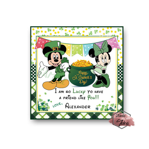 Mickey and Minnie Happy St. Patrick's Day Printable Tag-Funny St Patrick's Day-D.I.Y Tags-You Print-St. Patrick's Personalized Tag-Sticker-size 2.5""