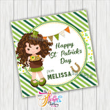 "Custom St Patrick's Day Printable 2.5'' Tags- Girl St Patrick's Wishes Personalized Tags-DIY (You Print) 2.5"" tags-Digital File"