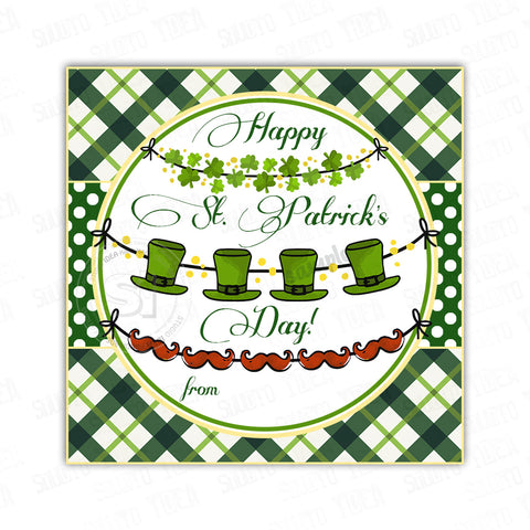 "INSTANT DOWNLOAD-Happy St Patrick's Day Printable 2.5"" square Tags-PDF file -St. Patrick's Day Tags- Stickers DIY Favor Tags"