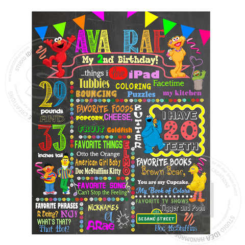 "Elmo Printable Stats Sign - Sesame street Personalized Stats Poster 16""x 20"" or  20"" x 24""- Printable Elmo Birthday Statistics Sign- DIY Digital File"