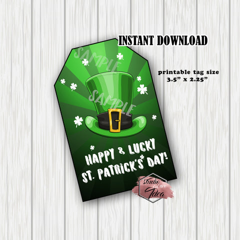 INSTANT DOWNLOAD-Happy St Patrick's Day Printable rectangle Tags-PDF file - DIY Gift tags- Favor Tags