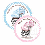 "Custom Baby Stroller with balloons Thank you Printable 2.5"" Tags-Personalized Baby Shower thank you 2.5 inches Tags- Pink or Blue Baby Shower Stickers DIY Favor Tags"