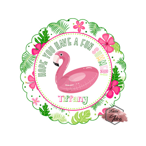 "Happy Summer Thank you Printable 2.5"" Tags-Personalized Flamingo Summer 2.5 inches Tags- Stickers DIY Favor Tags"