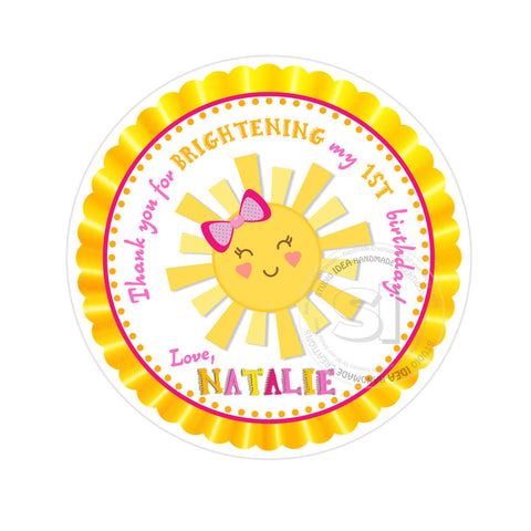"Custom Sun Birthday Thank you Printable 2.5"" Tags-Personalized Smiling Sun 2.5 inches Tags- Stickers DIY Favor Tags"