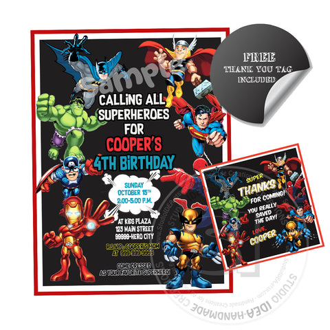 Superheroes Party Printable Invitation With FREE Thank You Tag DIY Digital File Birthday
