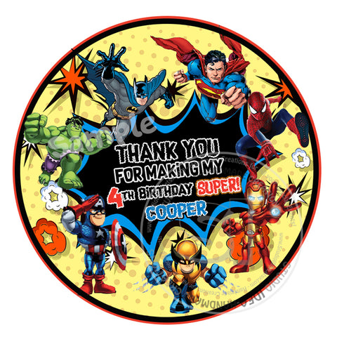 "Custom Superheroes Thank you Printable 2.5"" Tags-Personalized Superheroes Theme  2.5 inches Tags DIY Favor Tags-Stickers"
