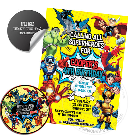 Superheroes Party Printable Invitation with FREE Thank you Tag-DIY Digital File-Superheroes Birthday Invitation -You Print