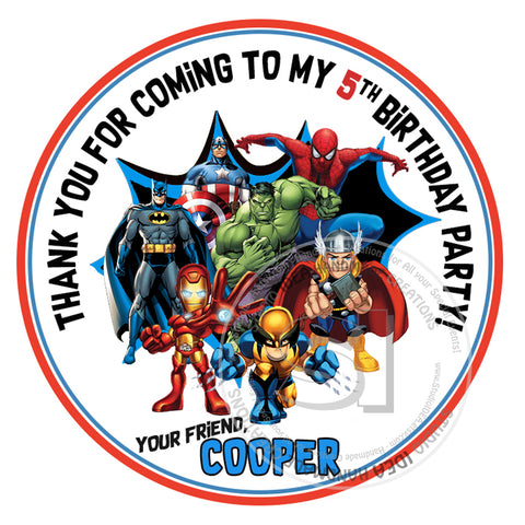 "Custom Superheroes Stickers-Party Thank you Birthday Stickers 2.5"" round Stickers"